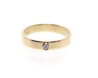 Sweet Diamond Set in Platinum and 14K Gold Ring