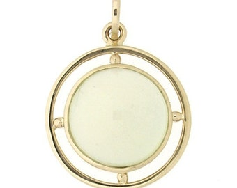 Beautiful Green Prehnite Set In 14K Gold Necklace