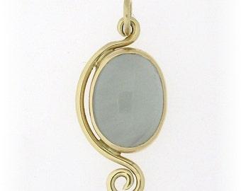 Necklace Aquamarine in14k gold bezel handmade ooak