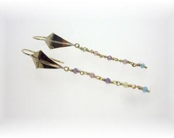 14K gold dangle Kite Earrings
