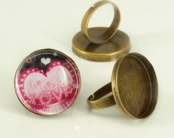 20 Shiny antique bronze blank Trays ring- 25mm round - Use with your favorite resin, glaze, or glass