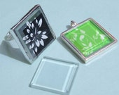 40Pieces Clear Glass Squares - for tray blank Pendants,Rings,bail