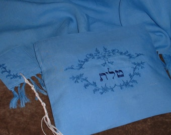 Linen Tallit - Lacey Violets in Heritage Blue