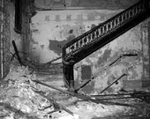 Abandoned Victorian Urban Decay - Elegance - 8x10 Art Photography, black & white crumbling staircase gothic Home Office Decor