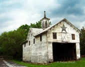 Star Barn - Rural architecture, Rustic Abandoned Urbex, Country wall home & office decor, Blue sky, white barn, green, PA