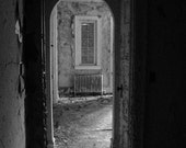 Abandoned Urbex - Sometimes I Wake in Strange Places, black and white, Light, Shadows texture, Dark Gothic Arch Doors Home decor