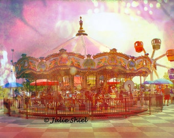Carnival Carousel - Merry Go Round Art Photography, Dreamy Carousel horses surreal Circus Nursery home decor in pastels