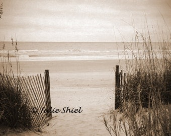Eternity - Beach lovers gift, Dune Grass, Ocean, Sand, Sepia, deserted Path to sea waves Art Photography, Peaceful Home Decor