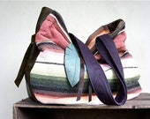 SALE///SALE///JOSEPHINE in Vintage Mexican Blanket with Olive and Purple Leather