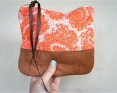 Floral Neon Linen and Leather Pouch