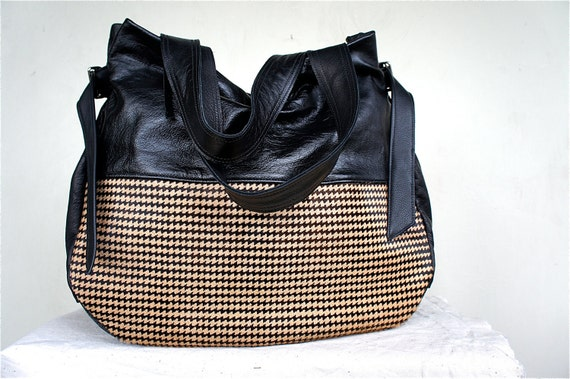 New Style///Josephine Traveler in Black Leather with Herringbone Pony Hair Accents