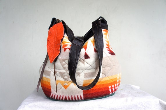 FOR Lisa///Agatha in Vintage Pendleton with Leather Accents and Adjustable Strap