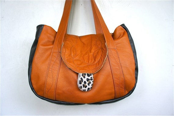 FOR TARA//Jane Satchel in Orange Brown and Dark Olive Green Leather