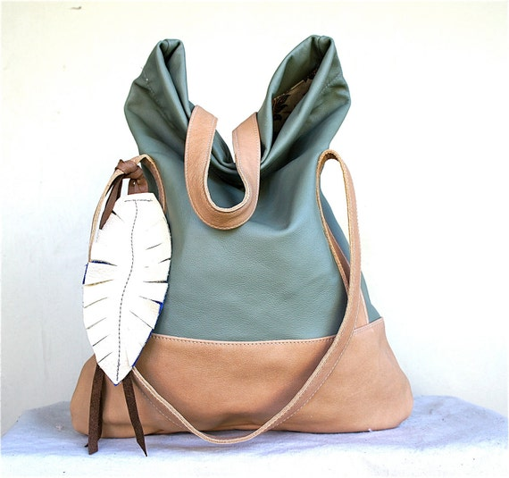 Luella/// in Pale Green Leather with Sandy Brown Leather Accents
