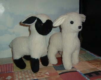Black & White Lamb Stuffed Animal Pattern to Sew Instant Download