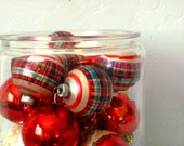 Vintage - Plaid Tartan Shiny Brite Christmas Ornaments- Retro