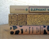 Vintage Book Collection Neutral Jungle Print Books Home Decor Photo Props