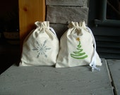 Medium Reusable Christmas Gift Bag, Hemp, Organic, Snowflake, Tree