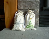 Small Christmas Reusable Gift Bag, Hemp, Organic, Snowflake