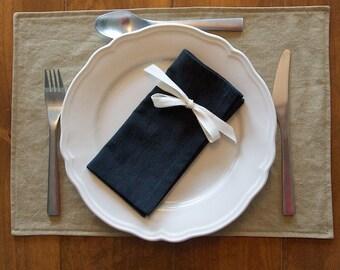 Set of 4 Black Napkins, Hemp, Organic Cotton, Table Linens, Cloth Napkins