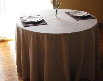 "Ready-Made Linen Cotton Tablecloth, Table Linens, Natural, 53"" x 53"""