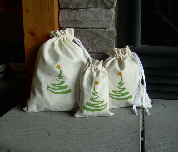 Set of 3 Christmas Reusable Gift Bags, Organic, Hemp, Unique, Hand-Painted
