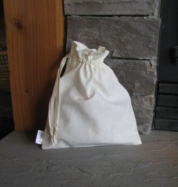 Custom Order - Large Organic Gift Bags, Drawstring, Hemp Cotton, Natural