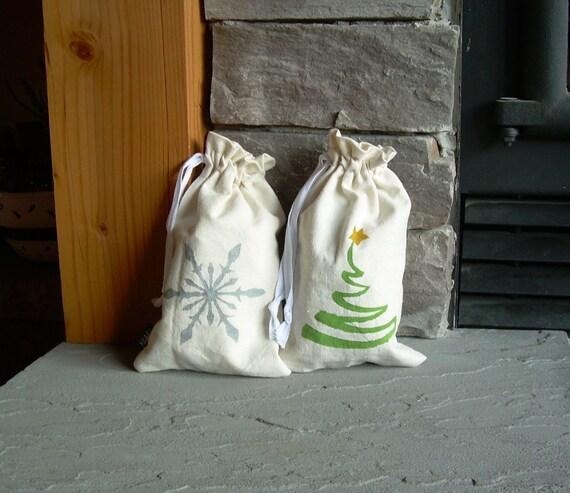 Small Christmas Reusable Gift Bag, Hemp, Organic, Snowflake