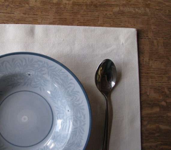 Organic Placemat, Table Linens, Hemp, Natural - 4 Contemporary Placemats.