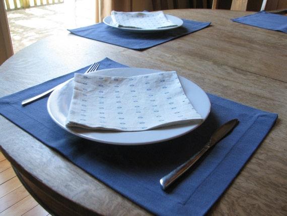 Organic Placemat, Table Linens, Hemp, Indigo - 4 Contemporary Placemats.