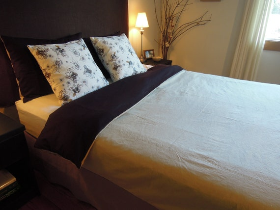 Ready Made Double Simple Duvet Cover, Natural Bedding, Dark Brown and Sage