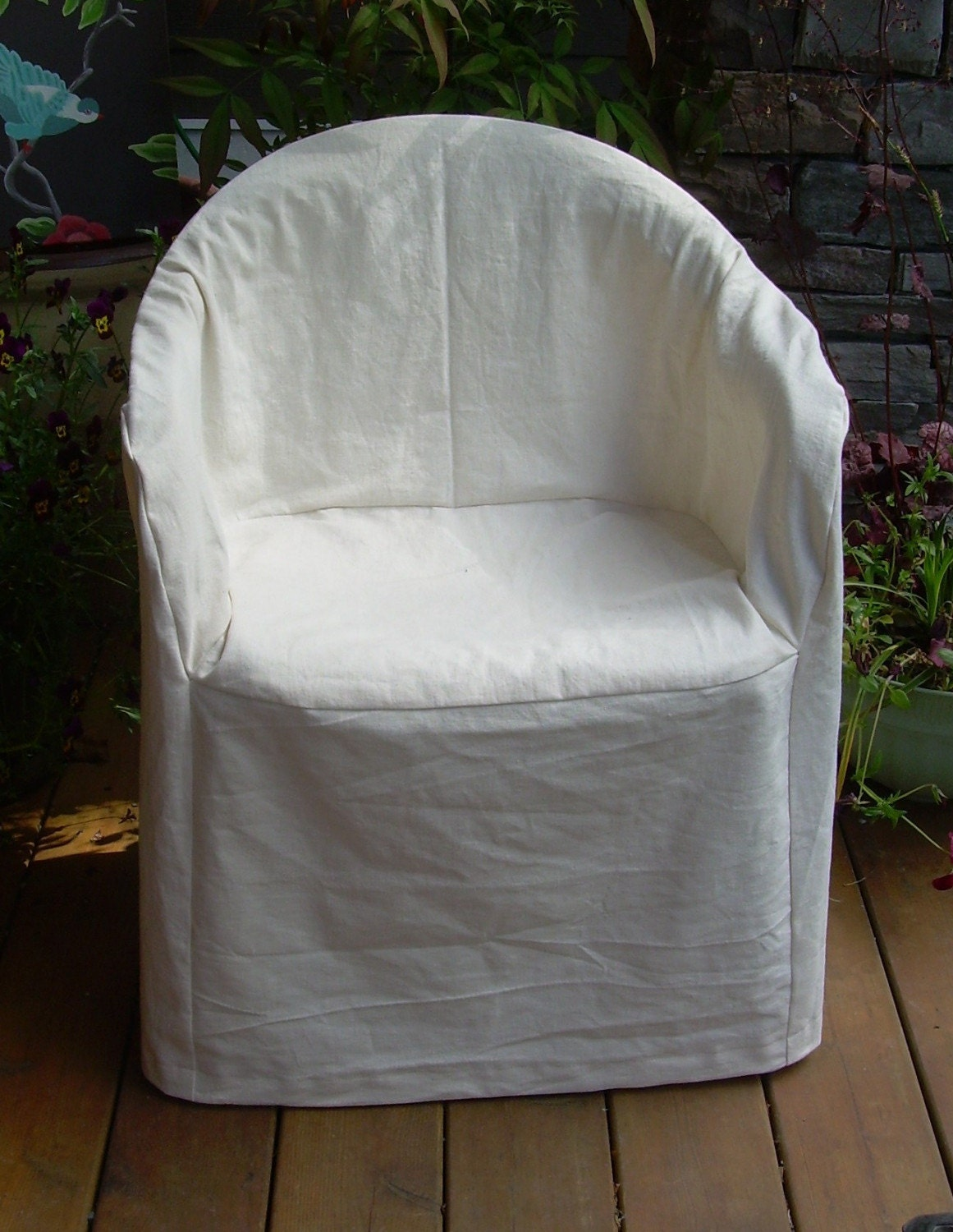 Hemp Cotton Slipcover for Outdoor Plastic Chair
