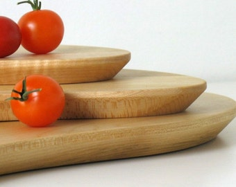 Maple and Birch wooden platter set ...