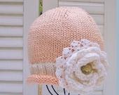 Baby Girl Flower Hat in Peaches & Cream  6-12M READY