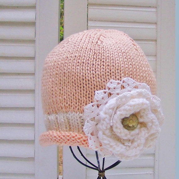 Baby Girl Flower Hat in Peaches & Cream  6-12M READY