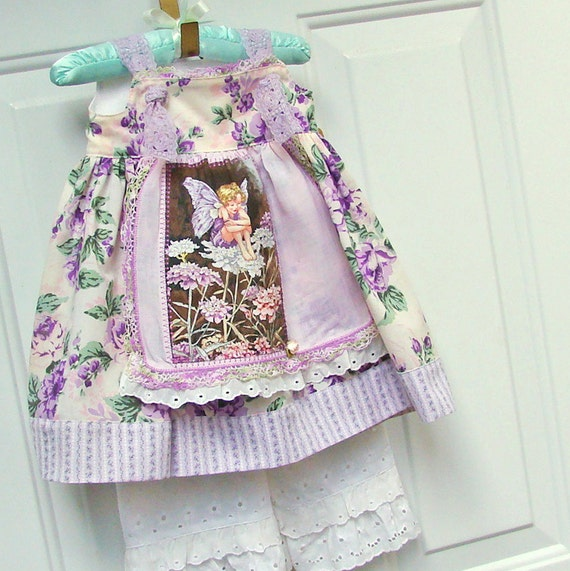 Baby Girl Dress 12M Apron Knot Dress Purple Flower Fairy READY to SHIP