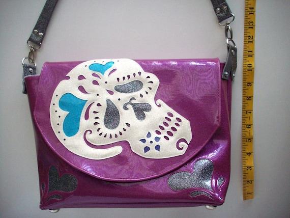Metalflake sparkle vinyl fuchsia  handbag Sugar Skull Calavera