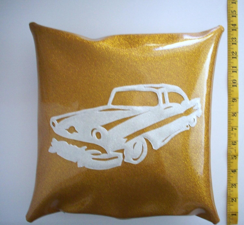 Vinyl Decorative Pillows : Metalflake vinyl pillow Starchief white car on gold