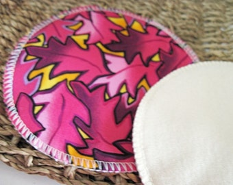 Purple Leaves Nursing Pads .. Cotton and Bamboo French Terry FREE Shipping