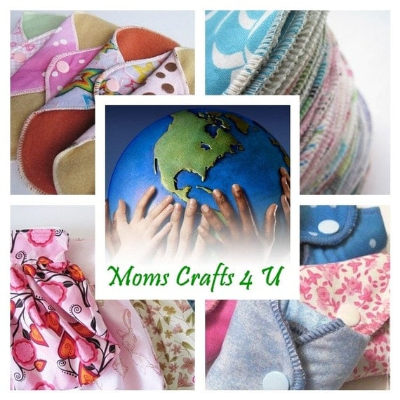 Starter Kit Set of 11  Cloth Mama Pads ...  Variety of 5 Liners ,  4 Regular & 2 Heavy FREE Shipping