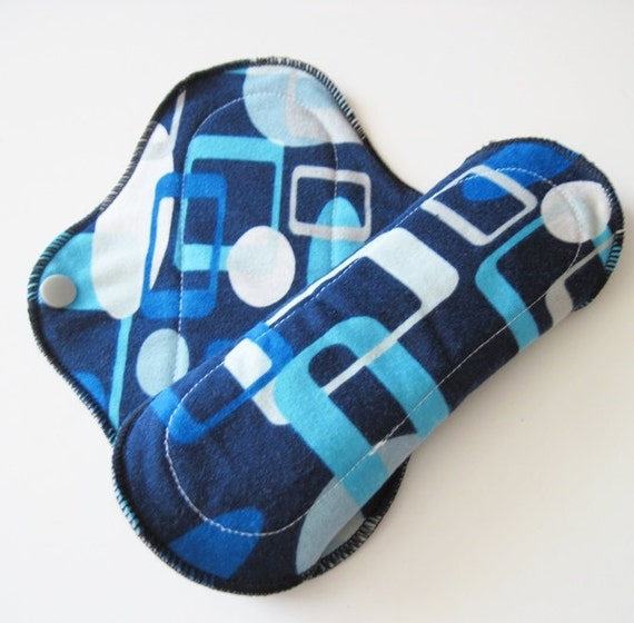 Blue Geometric COTTON KNIT Reusable Mama Cloth Pad Set of 2 Pantyliners 8 inch