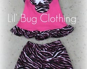 Custom Boutique Clothing Zebra and Pink Minnie Mouse Short and Halter Top