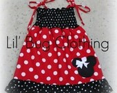 Custom Boutique Minnie Mouse Red and Black Smocked Dress