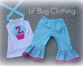 Custom Boutique Clothing Teal and White Polka Dot Cupcake Capri and Halter Top