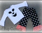 Custom Boutique Black White Orange Polka Dot Ghost Halloween Tee and Pant