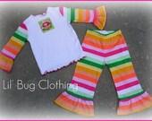 Custom Boutique Girl Strawberry Shortcake Rainbow Striped Pant and Tee Birthday  Girl