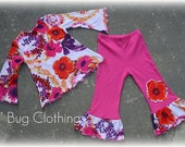 Custom Boutique Girl Spring Floral  Knit Custom Boutique Tee and Pant Set Girl
