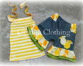 Lemon Lime Yellow Stripes Summer Pocket Denim Shorts and Halter Top Girl Outfit