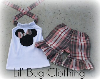 Custom Boutique Plaid Minnie Mouse Short and Halter Top