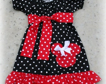 Custom Boutique Clothing Black and Red White Dot Minnie Mouse Peasant Dress